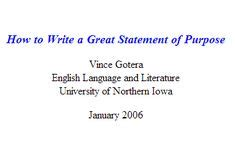 Purpose of personal statement for graduate school